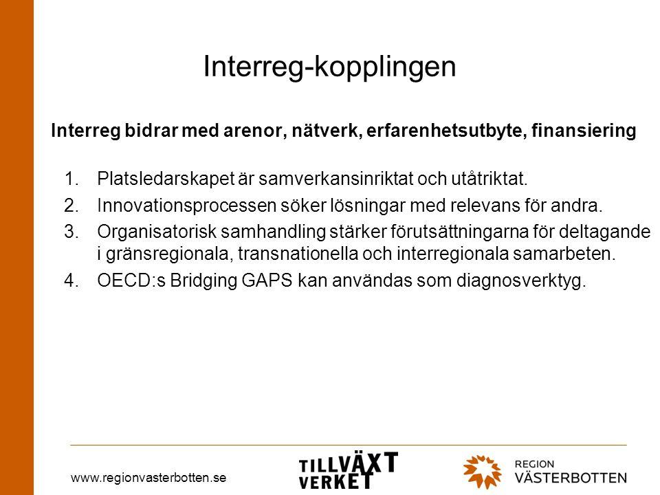 www.regionvasterbotten.se Interreg-kopplingen Interreg bidrar med arenor, nätverk, erfarenhetsutbyte, finansiering 1.Platsledarskapet är samverkansinriktat och utåtriktat.