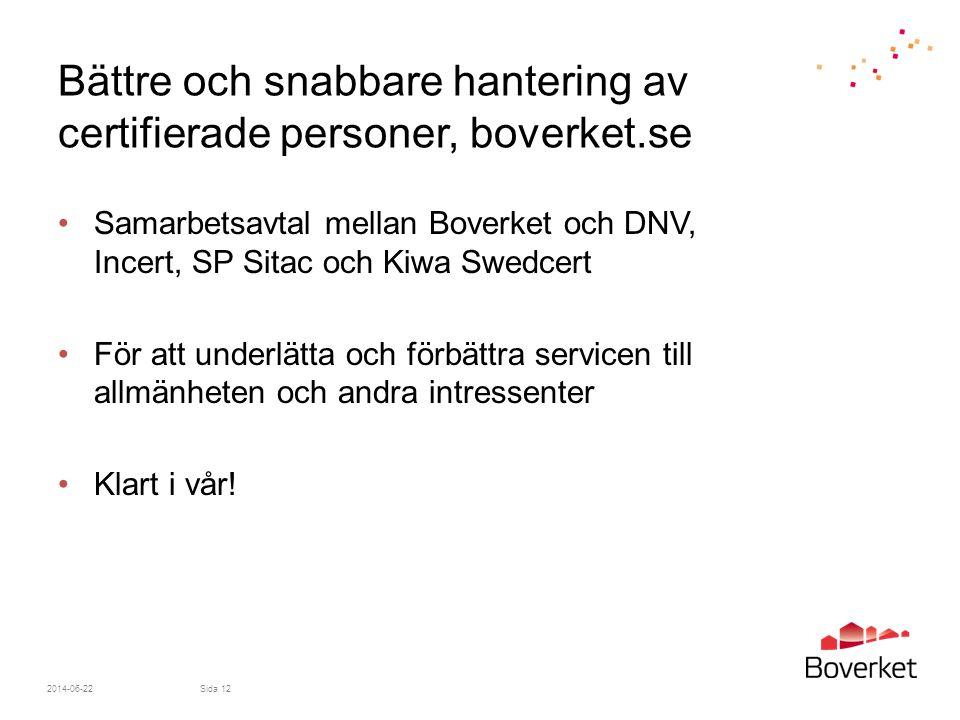 Bättre och snabbare hantering av certifierade personer, boverket.se •Samarbetsavtal mellan Boverket och DNV, Incert, SP Sitac och Kiwa Swedcert •För att underlätta och förbättra servicen till allmänheten och andra intressenter •Klart i vår.