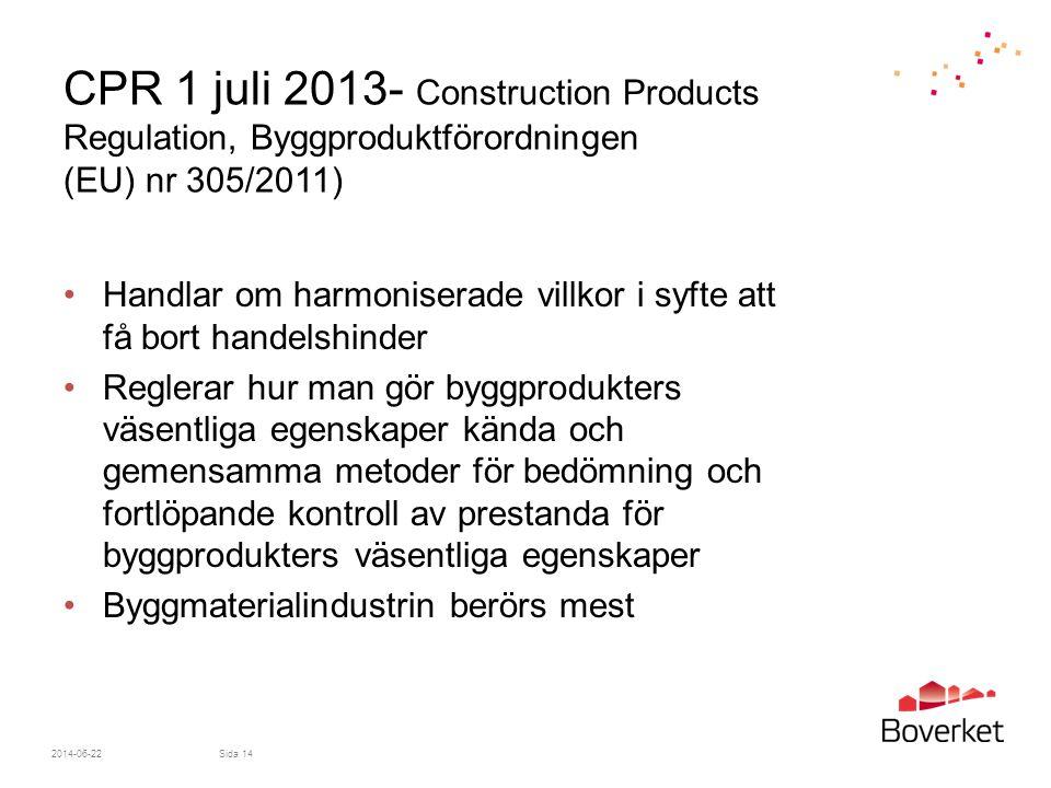 CPR 1 juli 2013- Construction Products Regulation, Byggproduktförordningen (EU) nr 305/2011) •Handlar om harmoniserade villkor i syfte att få bort handelshinder •Reglerar hur man gör byggprodukters väsentliga egenskaper kända och gemensamma metoder för bedömning och fortlöpande kontroll av prestanda för byggprodukters väsentliga egenskaper •Byggmaterialindustrin berörs mest 2014-06-22Sida 14