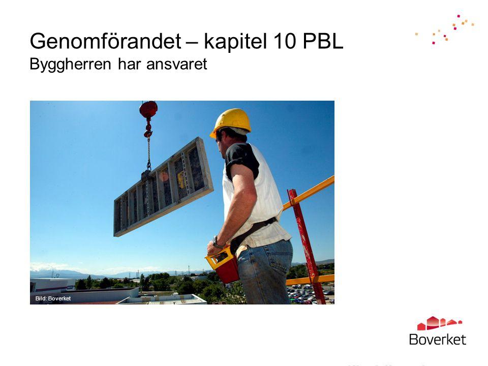 Genomförandet – kapitel 10 PBL Byggherren har ansvaret Bild: Boverket