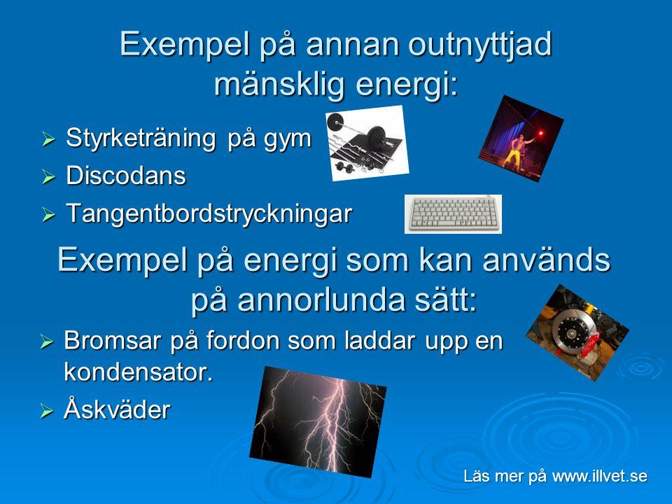 Exempel på annan outnyttjad mänsklig energi:  Styrketräning på gym  Discodans  Tangentbordstryckningar Läs mer på www.illvet.se Exempel på energi s