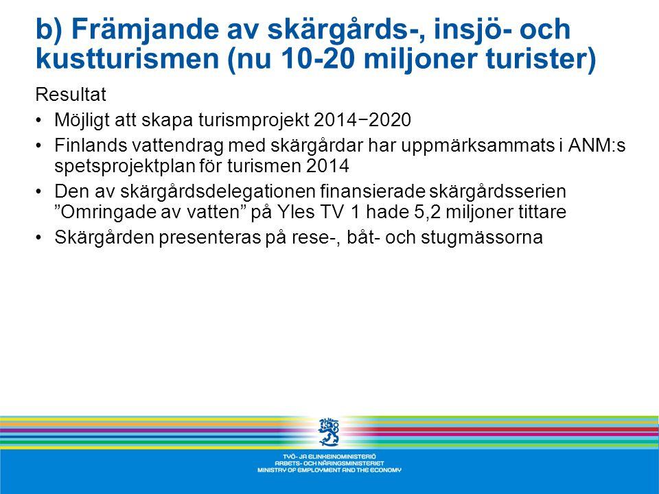 b) Främjande av skärgårds-, insjö- och kustturismen (nu 10-20 miljoner turister) Resultat •Möjligt att skapa turismprojekt 2014−2020 •Finlands vattendrag med skärgårdar har uppmärksammats i ANM:s spetsprojektplan för turismen 2014 •Den av skärgårdsdelegationen finansierade skärgårdsserien Omringade av vatten på Yles TV 1 hade 5,2 miljoner tittare •Skärgården presenteras på rese-, båt- och stugmässorna