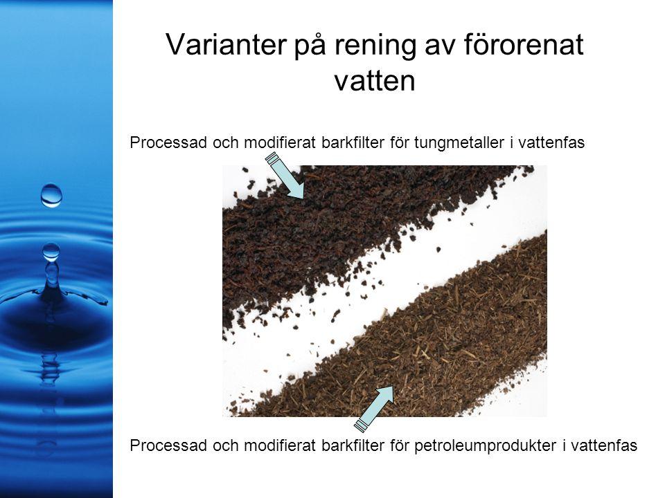 Varianter på rening av förorenat vatten Processad och modifierat barkfilter för tungmetaller i vattenfas Processad och modifierat barkfilter för petroleumprodukter i vattenfas