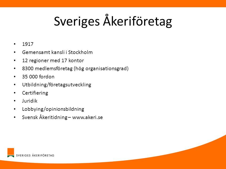 Sveriges Åkeriföretag • 1917 • Gemensamt kansli i Stockholm • 12 regioner med 17 kontor • 8300 medlemsföretag (hög organisationsgrad) • 35 000 fordon