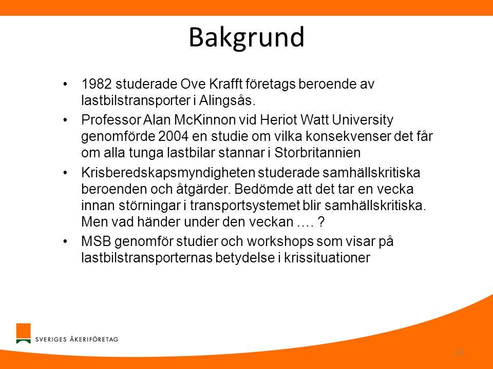 Bakgrund •1982 studerade Ove Krafft företags beroende av lastbilstransporter i Alingsås. •Professor Alan McKinnon vid Heriot Watt University genomförd