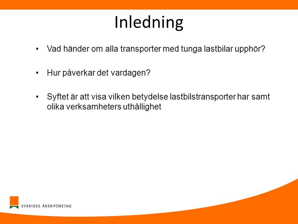 Inledning •Vad händer om alla transporter med tunga lastbilar upphör? •Hur påverkar det vardagen? •Syftet är att visa vilken betydelse lastbilstranspo