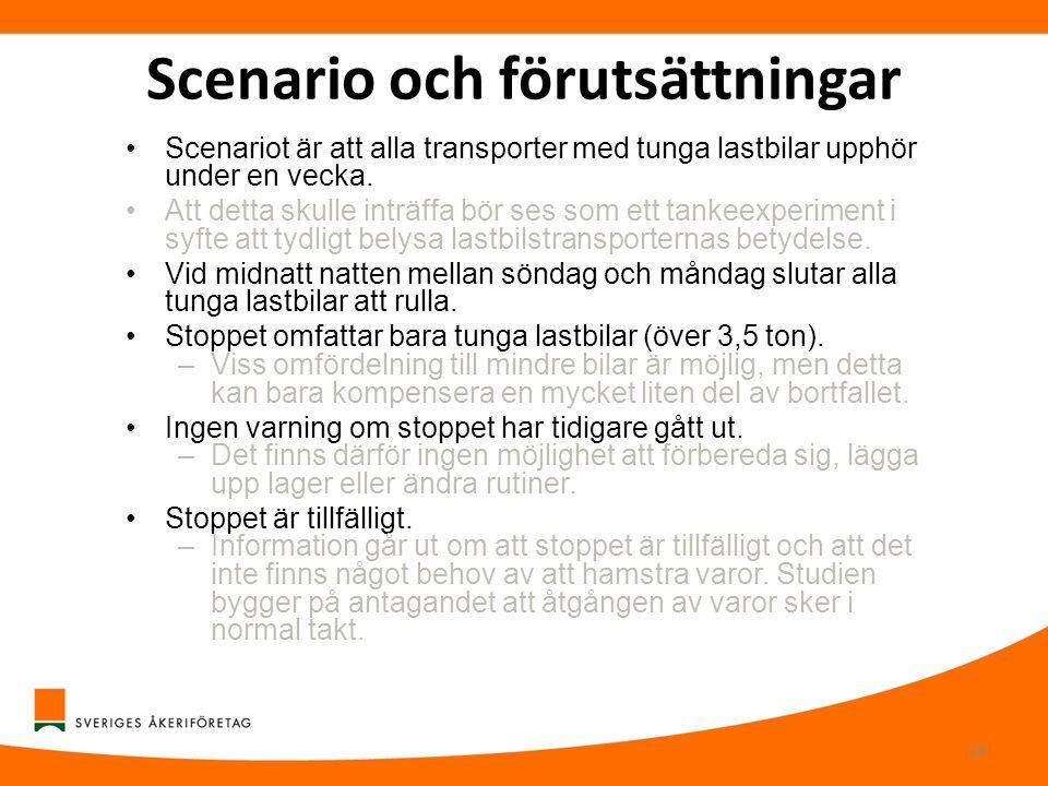 Scenario och förutsättningar •Scenariot är att alla transporter med tunga lastbilar upphör under en vecka. •Att detta skulle inträffa bör ses som ett