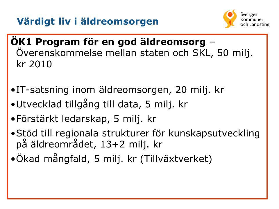 Värdigt liv i äldreomsorgen ÖK1 Program för en god äldreomsorg – Överenskommelse mellan staten och SKL, 50 milj. kr 2010 •IT-satsning inom äldreomsorg