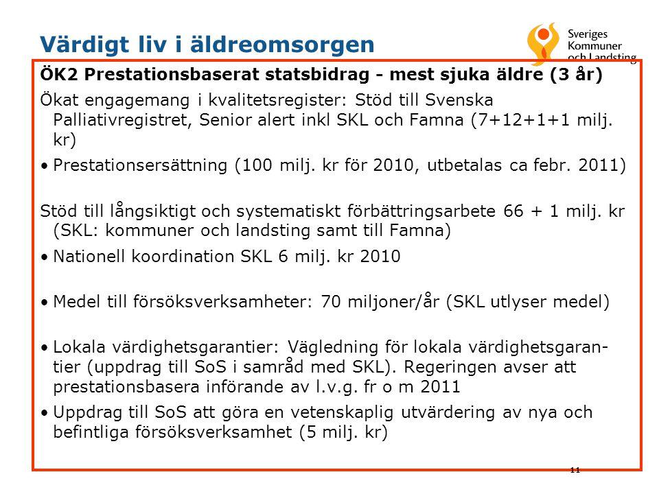 Värdigt liv i äldreomsorgen ÖK2 Prestationsbaserat statsbidrag - mest sjuka äldre (3 år) Ökat engagemang i kvalitetsregister: Stöd till Svenska Pallia