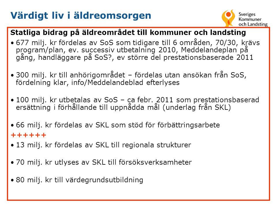 Värdigt liv i äldreomsorgen Statliga bidrag på äldreområdet till kommuner och landsting •677 milj.