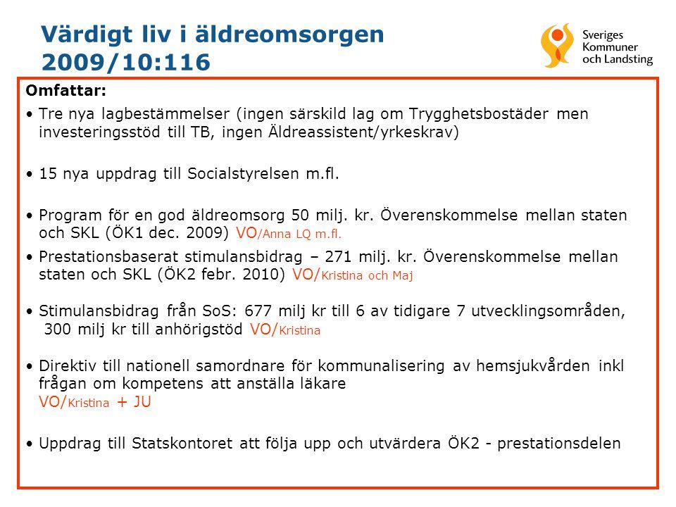 Värdigt liv i äldreomsorgen 2009/10:116 Omfattar: •Tre nya lagbestämmelser (ingen särskild lag om Trygghetsbostäder men investeringsstöd till TB, inge