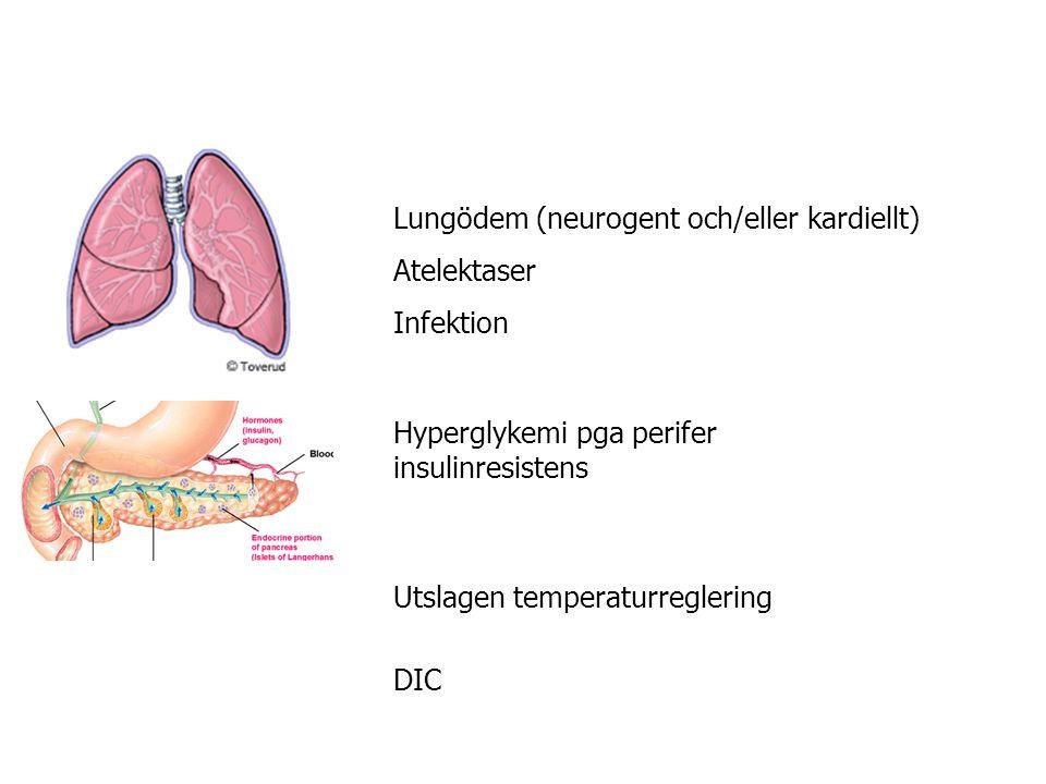 Lungödem (neurogent och/eller kardiellt) Atelektaser Infektion Hyperglykemi pga perifer insulinresistens Utslagen temperaturreglering DIC