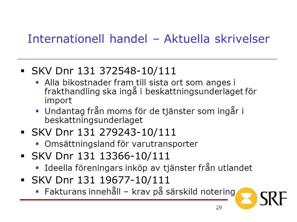 29 Internationell handel – Aktuella skrivelser  SKV Dnr 131 372548-10/111  Alla bikostnader fram till sista ort som anges i frakthandling ska ingå i beskattningsunderlaget för import  Undantag från moms för de tjänster som ingår i beskattningsunderlaget  SKV Dnr 131 279243-10/111  Omsättningsland för varutransporter  SKV Dnr 131 13366-10/111  Ideella föreningars inköp av tjänster från utlandet  SKV Dnr 131 19677-10/111  Fakturans innehåll – krav på särskild notering