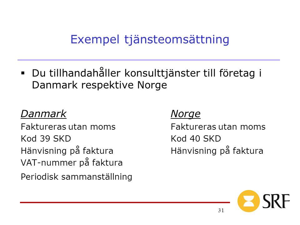 31 Exempel tjänsteomsättning  Du tillhandahåller konsulttjänster till företag i Danmark respektive Norge DanmarkNorgeFaktureras utan moms Kod 39 SKDKod 40 SKDHänvisning på faktura VAT-nummer på faktura Periodisk sammanställning