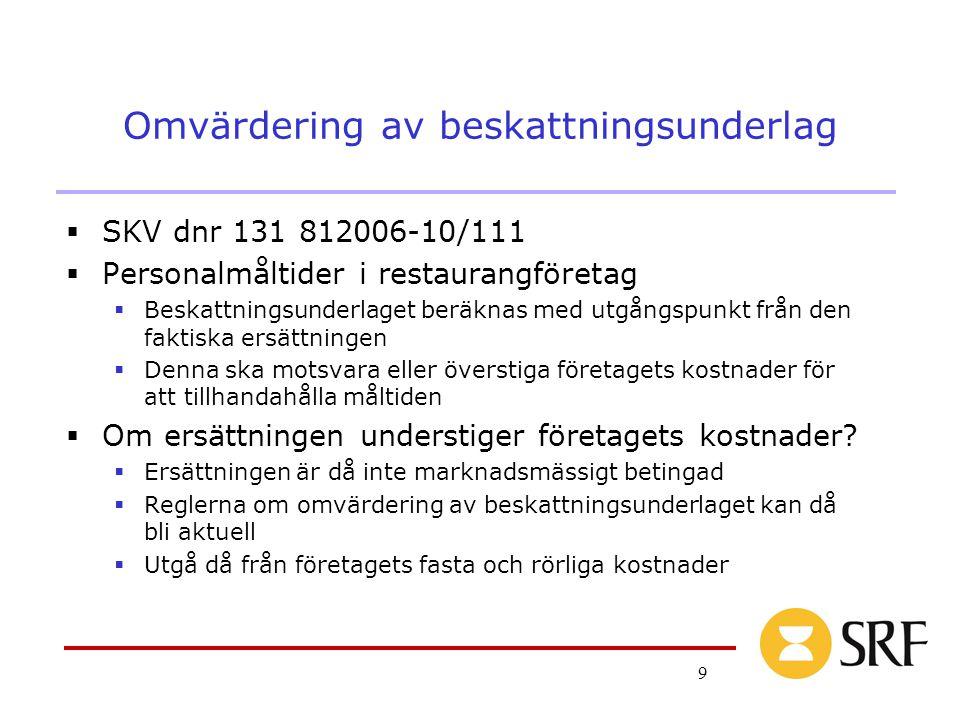 9 Omvärdering av beskattningsunderlag  SKV dnr 131 812006-10/111  Personalmåltider i restaurangföretag  Beskattningsunderlaget beräknas med utgångs