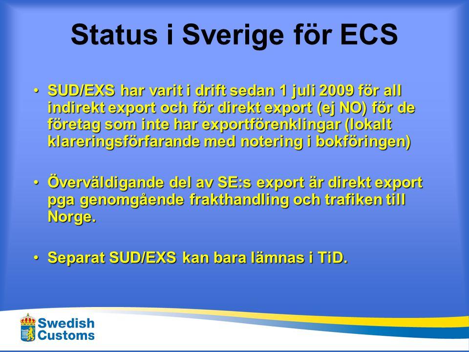 Status i Sverige för ECS •SUD/EXS har varit i drift sedan 1 juli 2009 för all indirekt export och för direkt export (ej NO) för de företag som inte ha