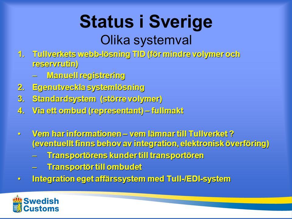 Sverige EDI-anslutning till Tullverket 1.Välj ett standardsystem (leverantör) 2.Ansök om EDI o/e SID -tillstånd hos Tullverket 3.Installation, utbildning och test 4.Utför slutprov 5.Lämna in en systembeskrivning (prövning) 6.Lämna in säkerhetsintyg (hantering av digitala signaturer ) 7.Produktionsmedgivande utfärdas (p 4-7 tar normalt 1-4 veckor) Utgår för Godkända System – utförs av systemleverantör