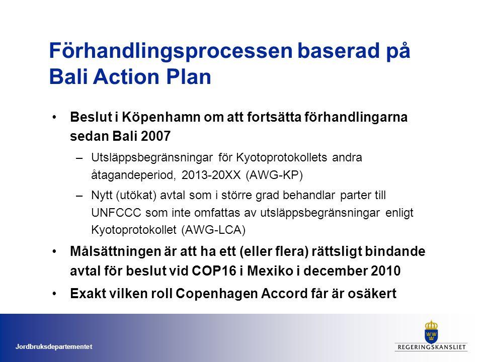Jordbruksdepartementet •Beslut i Köpenhamn om att fortsätta förhandlingarna sedan Bali 2007 –Utsläppsbegränsningar för Kyotoprotokollets andra åtagandeperiod, 2013-20XX (AWG-KP) –Nytt (utökat) avtal som i större grad behandlar parter till UNFCCC som inte omfattas av utsläppsbegränsningar enligt Kyotoprotokollet (AWG-LCA) •Målsättningen är att ha ett (eller flera) rättsligt bindande avtal för beslut vid COP16 i Mexiko i december 2010 •Exakt vilken roll Copenhagen Accord får är osäkert Förhandlingsprocessen baserad på Bali Action Plan