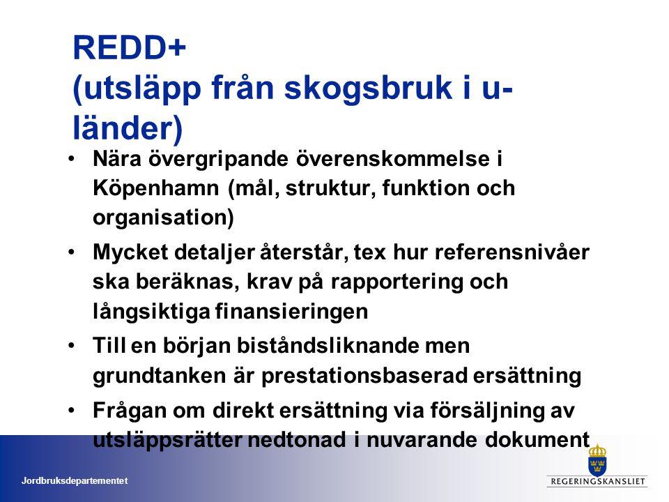 Jordbruksdepartementet •Nära övergripande överenskommelse i Köpenhamn (mål, struktur, funktion och organisation) •Mycket detaljer återstår, tex hur referensnivåer ska beräknas, krav på rapportering och långsiktiga finansieringen •Till en början biståndsliknande men grundtanken är prestationsbaserad ersättning •Frågan om direkt ersättning via försäljning av utsläppsrätter nedtonad i nuvarande dokument REDD+ (utsläpp från skogsbruk i u- länder)