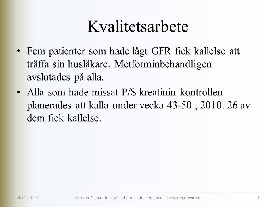 2014-06-22 14 Ruwini Navarathna, ST Läkare i allmänmedicin, Tensta vårdcentral Kvalitetsarbete • Fem patienter som hade lågt GFR fick kallelse att träffa sin husläkare.