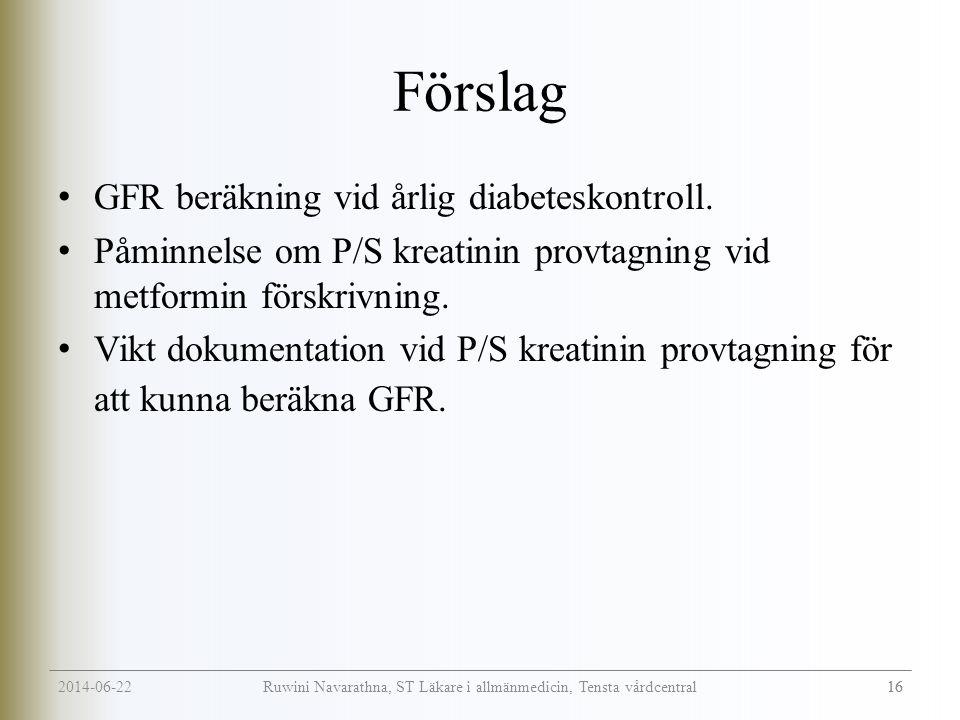 2014-06-22 16 Ruwini Navarathna, ST Läkare i allmänmedicin, Tensta vårdcentral Förslag • GFR beräkning vid årlig diabeteskontroll.