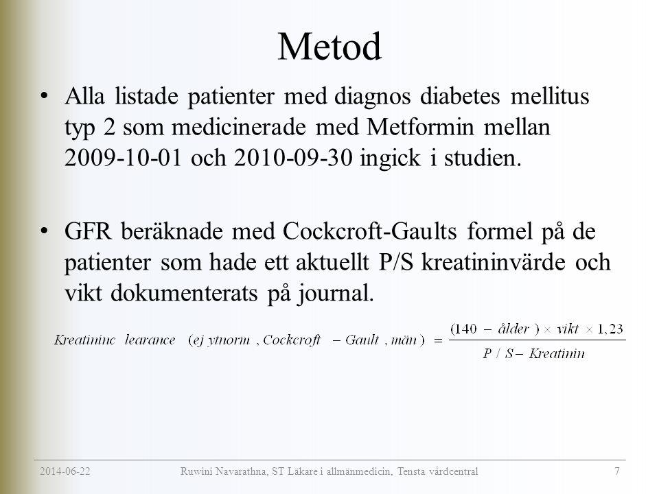 2014-06-22 7 Ruwini Navarathna, ST Läkare i allmänmedicin, Tensta vårdcentral Metod • Alla listade patienter med diagnos diabetes mellitus typ 2 som medicinerade med Metformin mellan 2009-10-01 och 2010-09-30 ingick i studien.