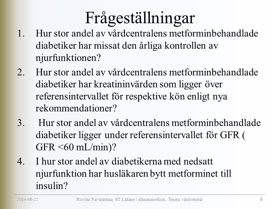 2014-06-22 8 Ruwini Navarathna, ST Läkare i allmänmedicin, Tensta vårdcentral Frågeställningar 1.Hur stor andel av vårdcentralens metforminbehandlade diabetiker har missat den årliga kontrollen av njurfunktionen.