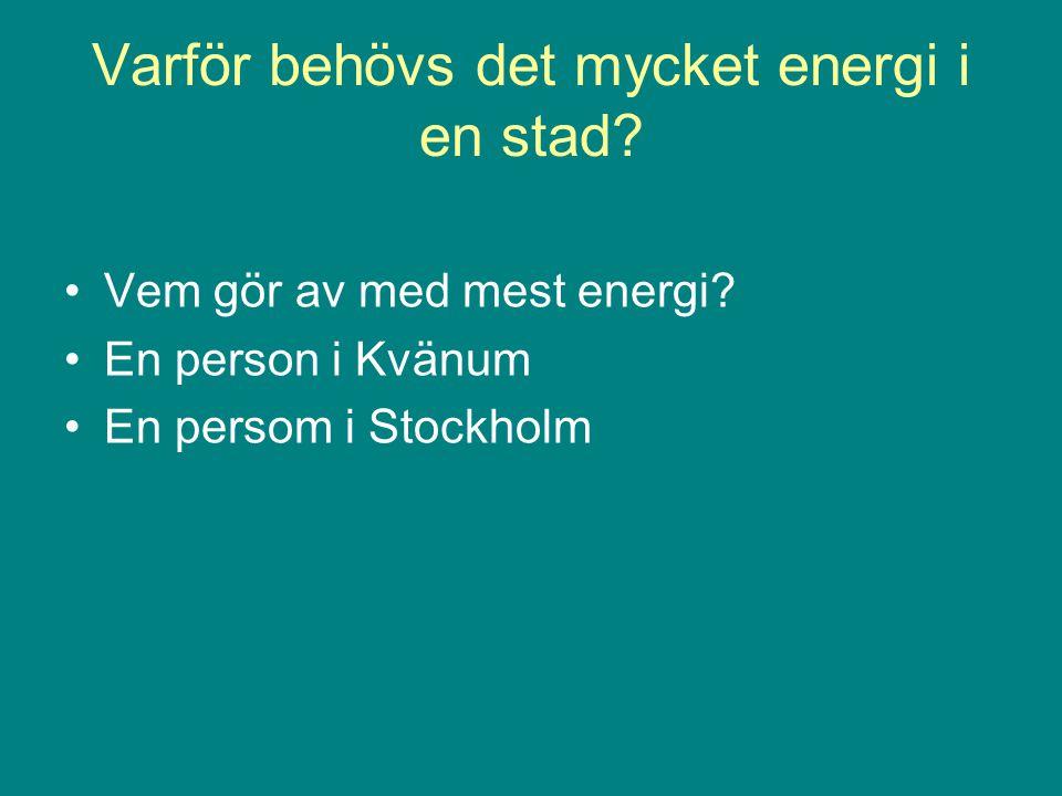 Varför behövs det mycket energi i en stad? •Vem gör av med mest energi? •En person i Kvänum •En persom i Stockholm