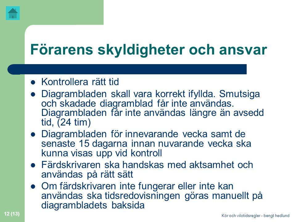 Kör och vilotidsregler - bengt hedlund 12 (13) Förarens skyldigheter och ansvar  Kontrollera rätt tid  Diagrambladen skall vara korrekt ifyllda.