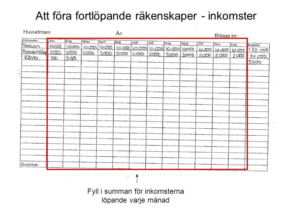 Årsräkningsblanketten - Utgifter Här fyller du i Huvudmannens samtliga utgifter under perioden.