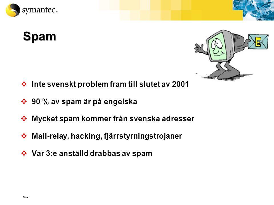 15 – Blandade Hot – ett exempel Masken Appix (september 2002): - Både virus, mask och trojansk häst - Utnyttjar två säkerhetshål i Outlook, Outlook Ex