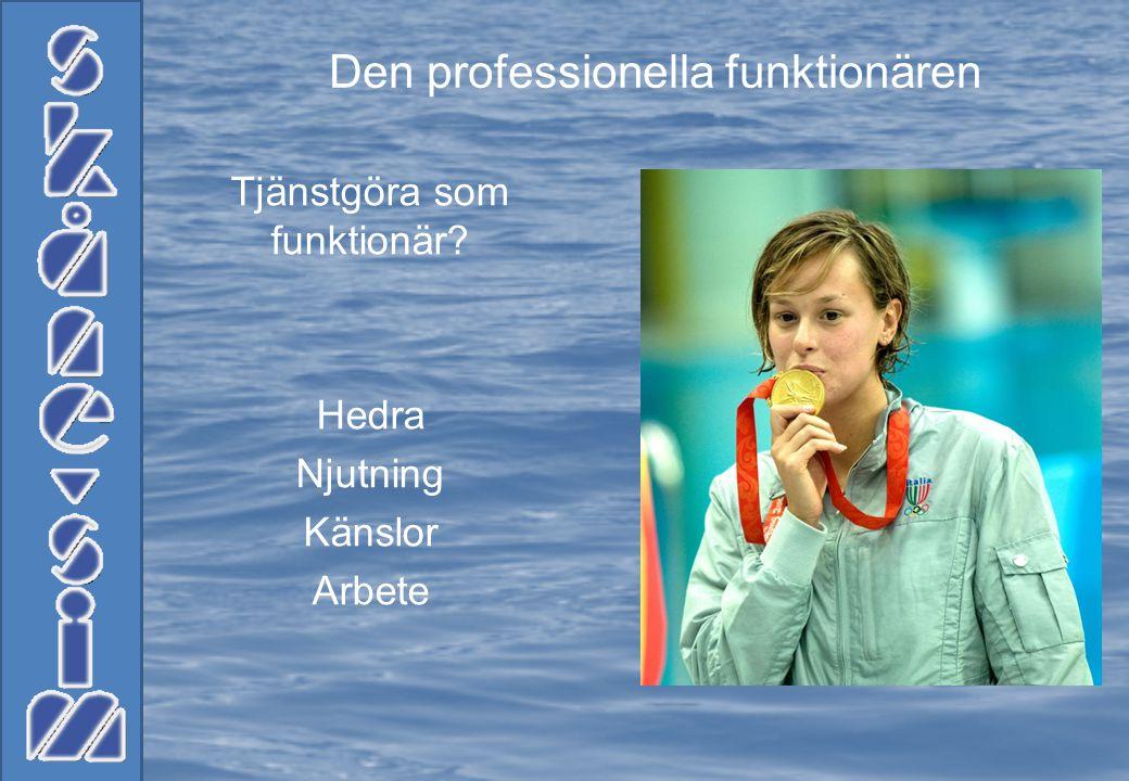 Funktionären är där för vår sport Simning Funktionären gillar att få deltaga Funktionären måste ha en god kännedom om regler Funktionären tillämpar sitt yttersta för tävlingen och sitt arbete
