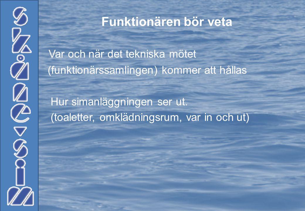 Funktionären bör veta Var och när det tekniska mötet (funktionärssamlingen) kommer att hållas Hur simanläggningen ser ut.