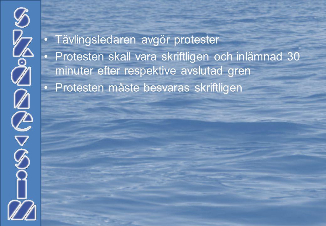 •Tävlingsledaren avgör protester •Protesten skall vara skriftligen och inlämnad 30 minuter efter respektive avslutad gren •Protesten måste besvaras skriftligen