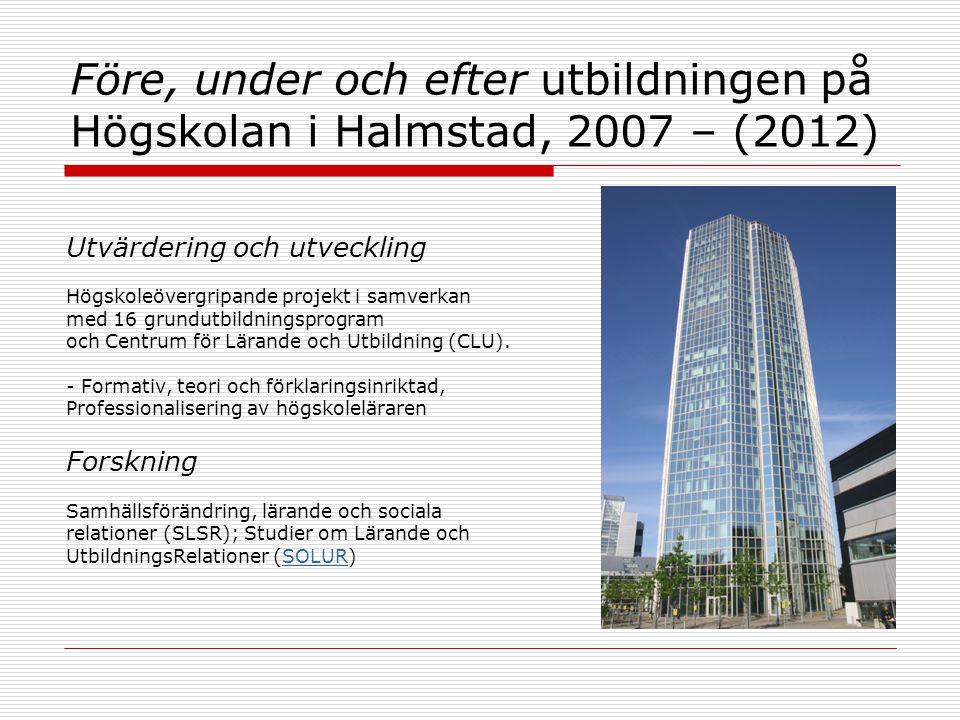 Före, under och efter utbildningen på Högskolan i Halmstad, 2007 – (2012) Utvärdering och utveckling Högskoleövergripande projekt i samverkan med 16 grundutbildningsprogram och Centrum för Lärande och Utbildning (CLU).