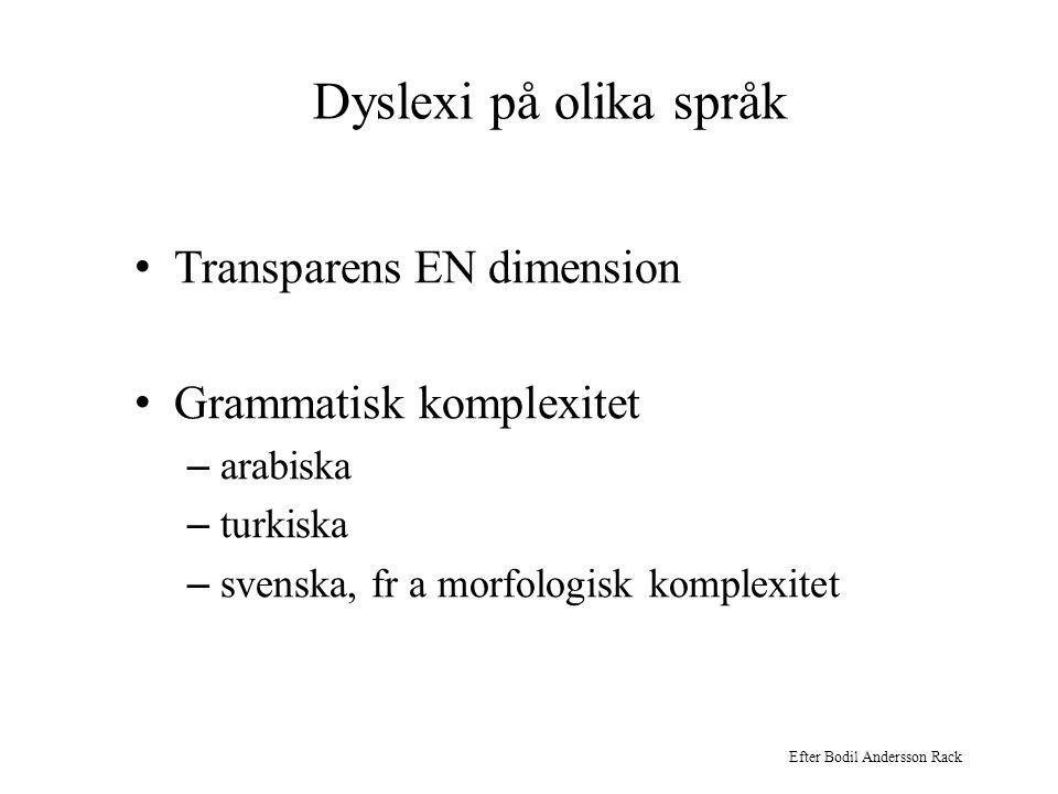 Dyslexi på olika språk • Transparens EN dimension • Grammatisk komplexitet – arabiska – turkiska – svenska, fr a morfologisk komplexitet Efter Bodil A