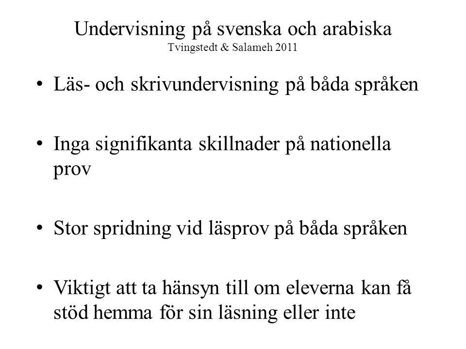 Undervisning på svenska och arabiska Tvingstedt & Salameh 2011 • Läs- och skrivundervisning på båda språken • Inga signifikanta skillnader på nationel
