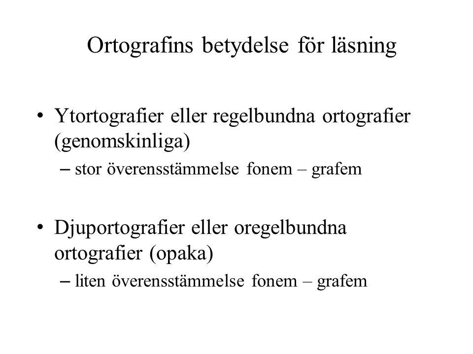 Ortografins betydelse för läsning • Ytortografier eller regelbundna ortografier (genomskinliga) – stor överensstämmelse fonem – grafem • Djuportografi