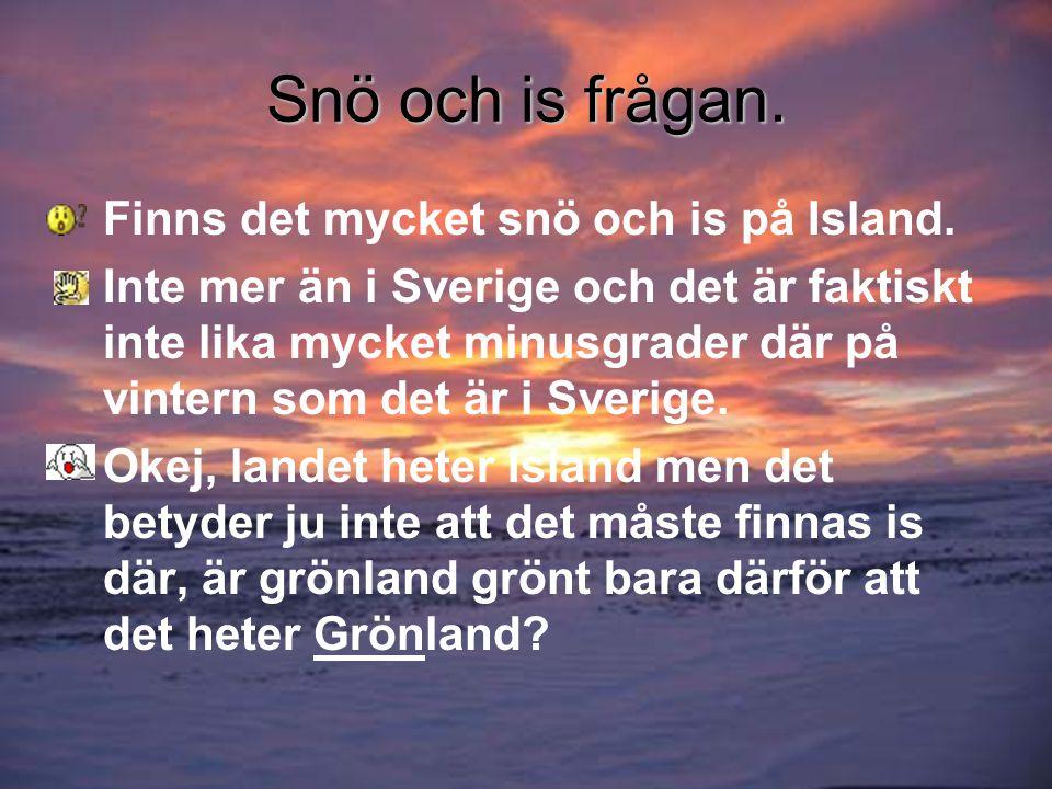 Snö och is frågan.•Finns det mycket snö och is på Island.