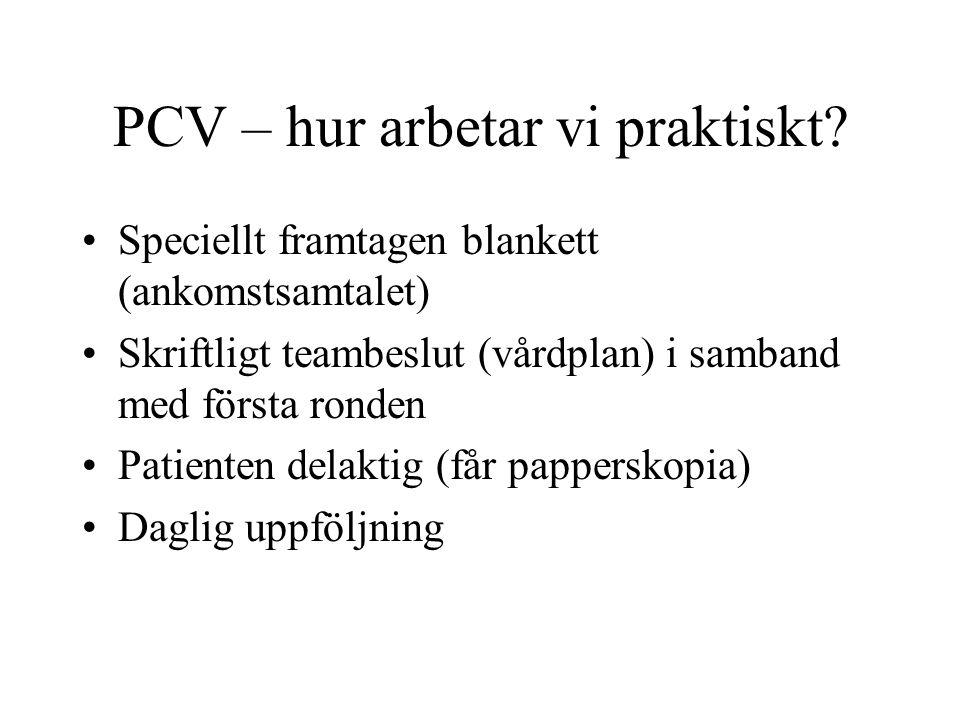 PCV – hur arbetar vi praktiskt? •Speciellt framtagen blankett (ankomstsamtalet) •Skriftligt teambeslut (vårdplan) i samband med första ronden •Patient