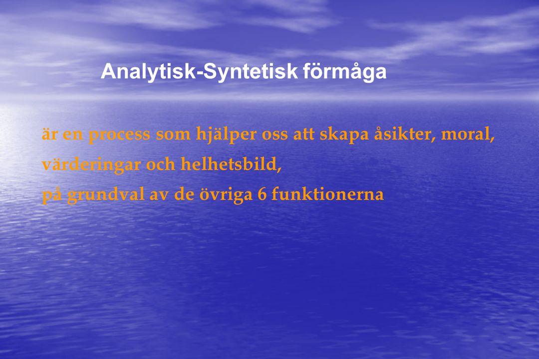 Analytisk-Syntetisk förmåga är en process som hjälper oss att skapa åsikter, moral, värderingar och helhetsbild, på grundval av de övriga 6 funktionerna