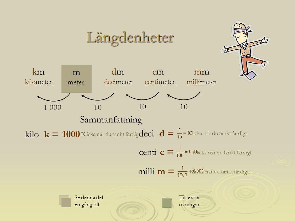 deci d = Längdenheter Klicka när du tänkt färdigt. 1000 10 1 000 mm millimeter m meter cm centimeter dm decimeter km kilometer Sammanfattning Se denna