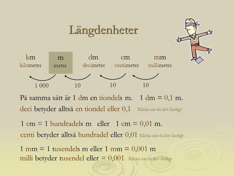 1 cm = 1 hundradels m eller 1 cm = 0,01 m. Längdenheter Klicka när du läst färdigt. deci betyder alltså en tiondel eller 0,1 10 1 000 mm millimeter m