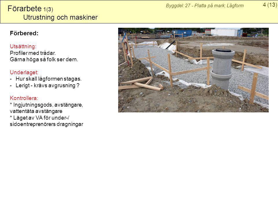 4(13) Byggdel: 27 - Platta på mark; Lågform Förarbete 1(3) Utrustning och maskiner Förbered: Utsättning: Profiler med trådar. Gärna höga så folk ser d