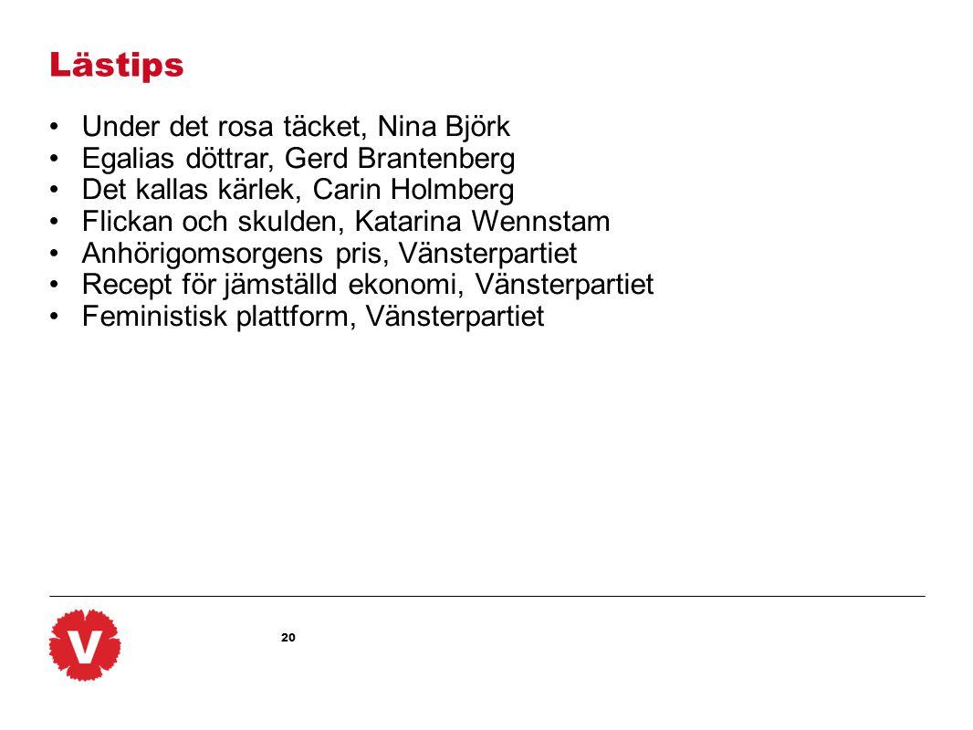 20 Lästips •Under det rosa täcket, Nina Björk •Egalias döttrar, Gerd Brantenberg •Det kallas kärlek, Carin Holmberg •Flickan och skulden, Katarina Wennstam •Anhörigomsorgens pris, Vänsterpartiet •Recept för jämställd ekonomi, Vänsterpartiet •Feministisk plattform, Vänsterpartiet