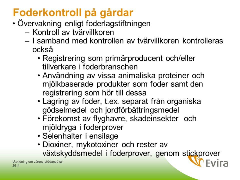 Övervakning av tvärvillkoren för foder 2014 Utbildning om vårens stödansökan