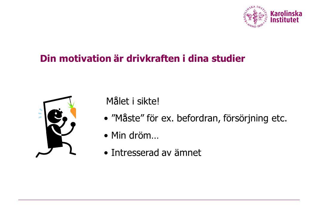 """Målet i sikte! • """"Måste"""" för ex. befordran, försörjning etc. • Min dröm… • Intresserad av ämnet Din motivation är drivkraften i dina studier"""