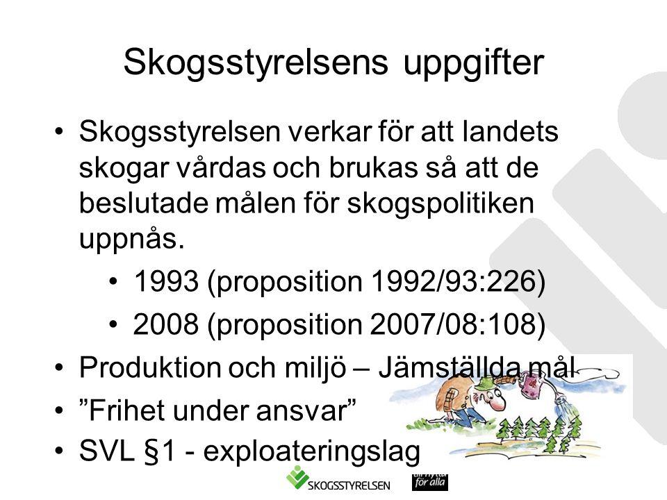 Skogsstyrelsens uppgifter •Skogsstyrelsen verkar för att landets skogar vårdas och brukas så att de beslutade målen för skogspolitiken uppnås.