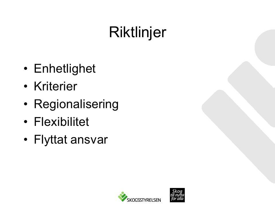 Riktlinjer •Enhetlighet •Kriterier •Regionalisering •Flexibilitet •Flyttat ansvar