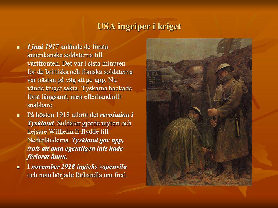 USA ingriper i kriget  I juni 1917 anlände de första amerikanska soldaterna till västfronten. Det var i sista minuten för de brittiska och franska so
